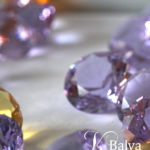 Pale lilac crystal jewels used in contemporary stained leaded glass domes and skylights