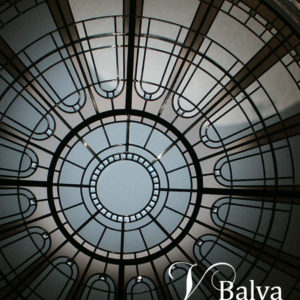 Residential stained and leaded glass circular skylight ceiling