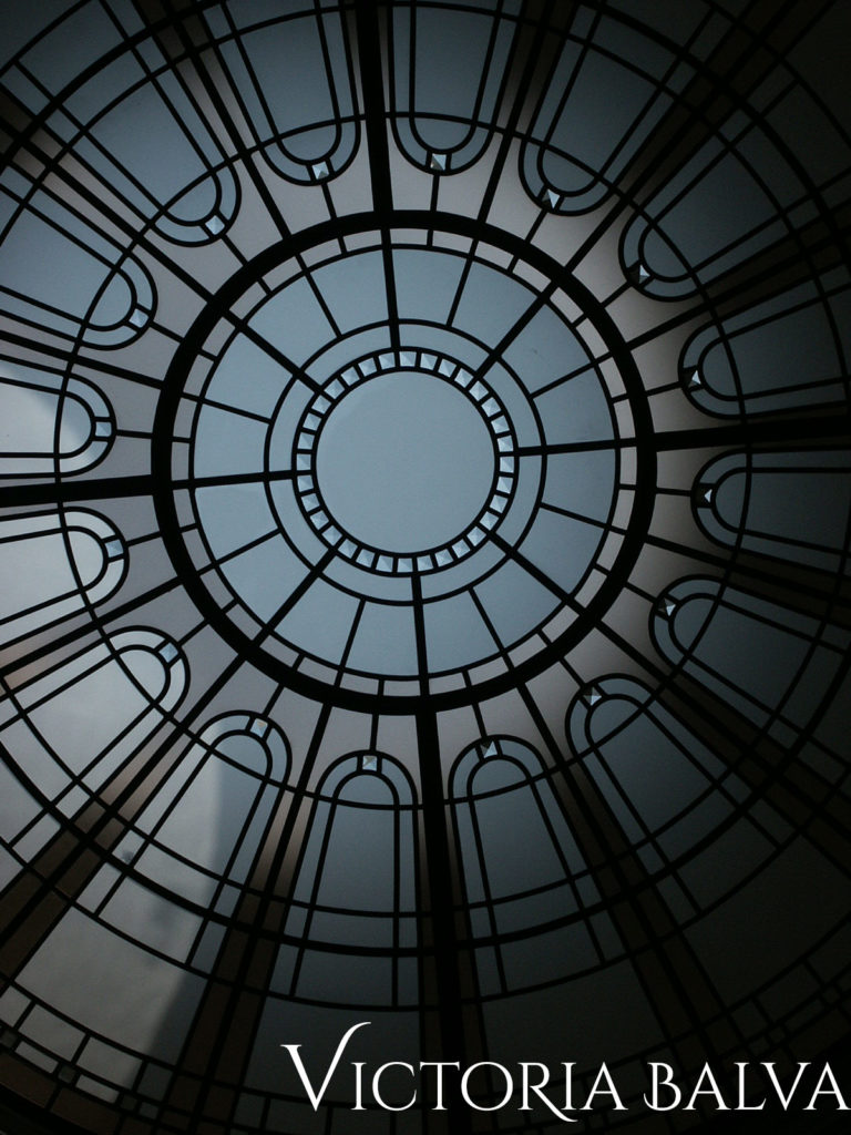 Frandiza champaine coloured glass with acid etched glass and bevelled glass in circular stained and leaded glass skylight
