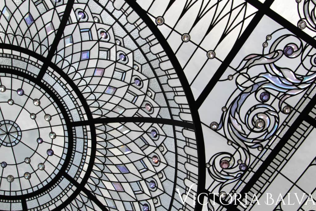 residential stained glass dome ceiling with custom hand bevelled glass ornaments and crystal jewels