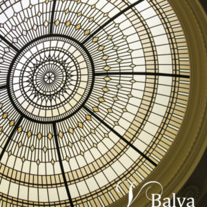 residential stained glass dome skylight for a double height entrance foyer of a custom built house in Richmond Hill
