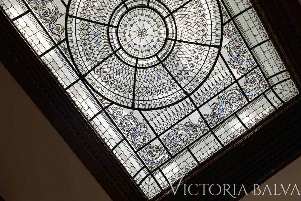 residential stained and leaded glass domed ceiling for the luxury custom built home in Connecticut