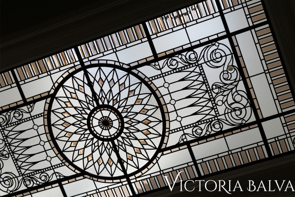 Ornamental stained glass ceiling design for a classic house in Mississauga