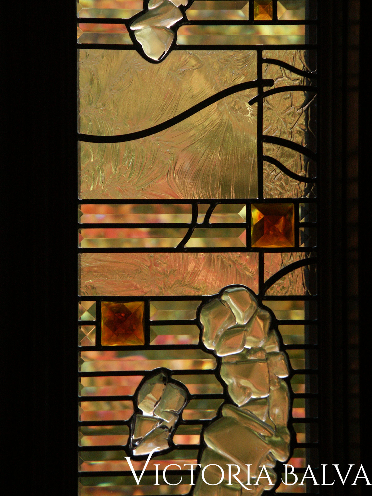 Fused stained leaded glass window in contemporary abstract style by glass artist Victoria Balva