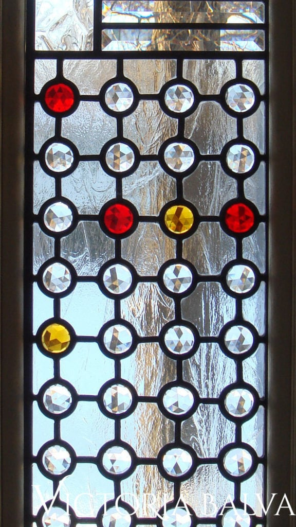 Close up detail of contemporary stained glass sidelight