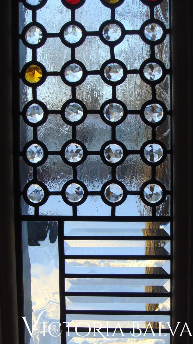 Contemporary style clear leaded glass front entance detail with jewels and bevels