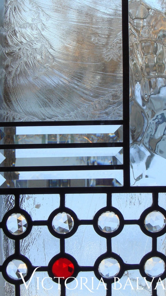 Minimal abstract stained and leaded glass pattern