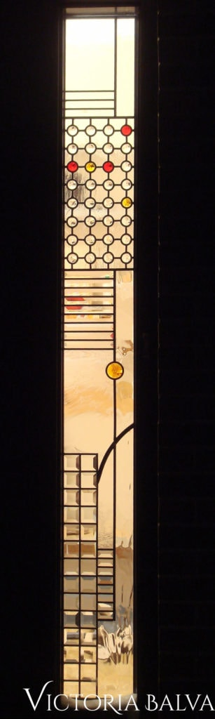 Simple contemporary stained glass front door