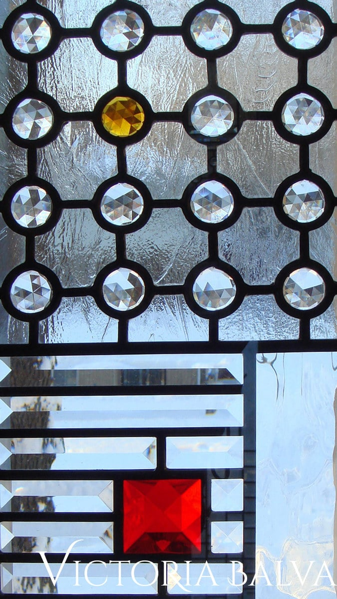 Contemporary leaded glass with squear and round jewels and beveled glass