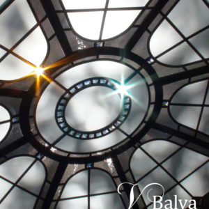 simple stained and leaded glass octagon skylight with chinchilla bronze textured glass and cler beveled glass