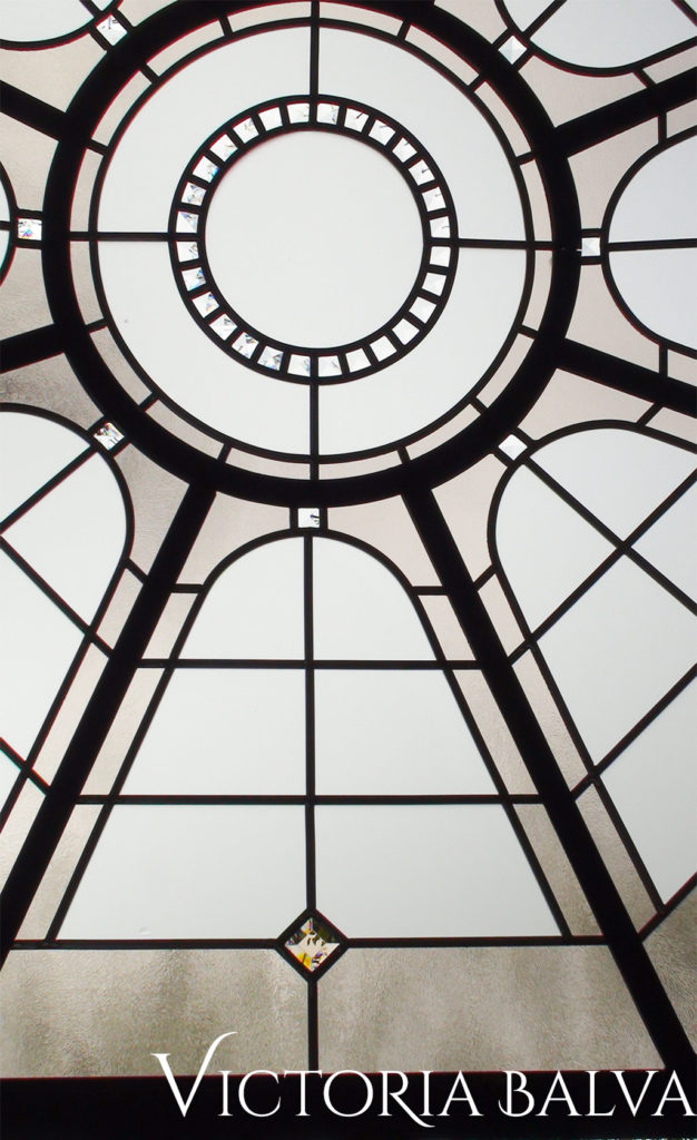 Simple stained and leaded glass skylight Washington DC