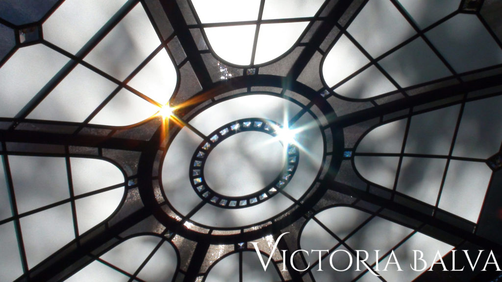 Simple geometric design stained and leaded glass skylight ceiling for the residence in Washington DC