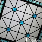 Small octagon stained and leaded glass skylight with turquoise custom beveled glass