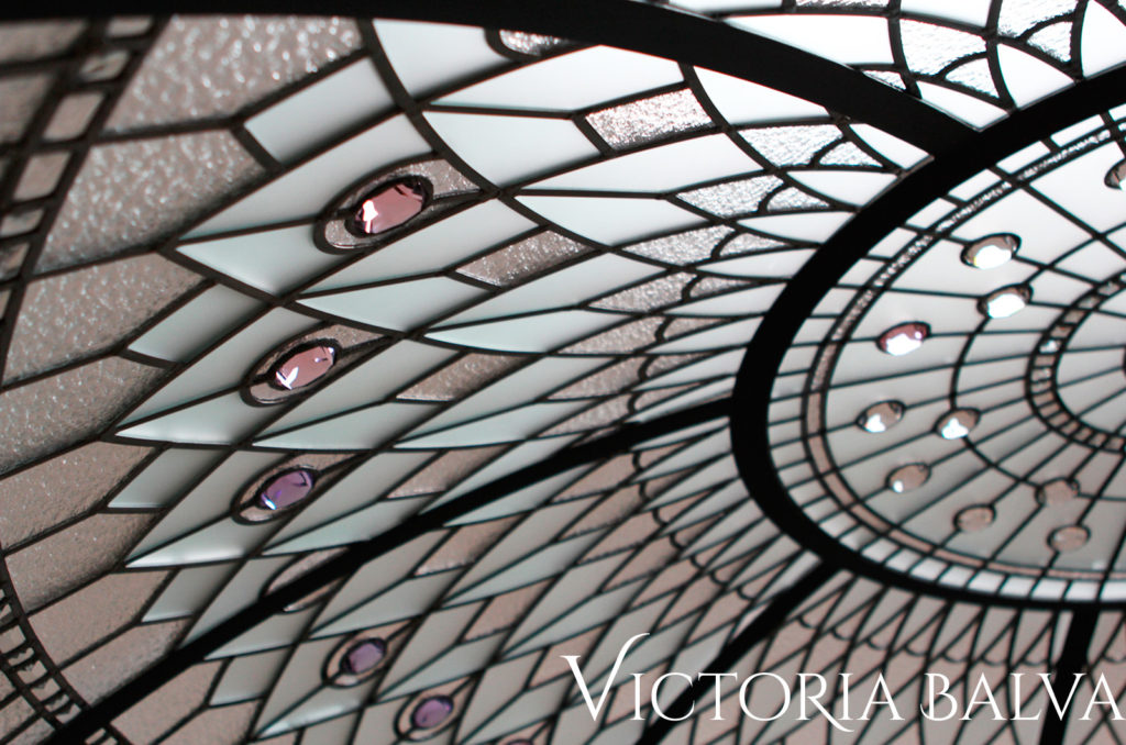 Leaded glass dome with clear Spectrum Granite and Acid etched glass, pink and lilac stained glass jewels, bevelled glass. art glass design