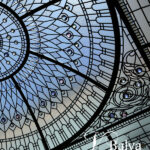 Brilliant stained and leaded glass dome roof skylight with custom hand bevelled glass and crystal jewels