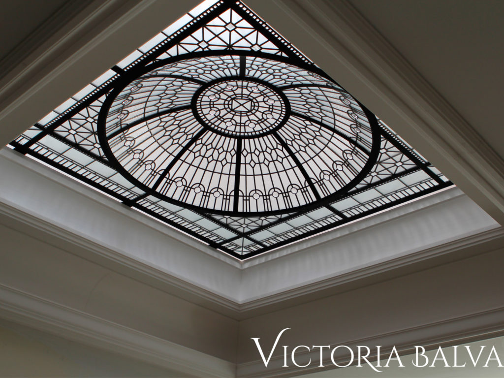 Decorative glass dome ceiling for the master bathroom of a custom built house in Toronto