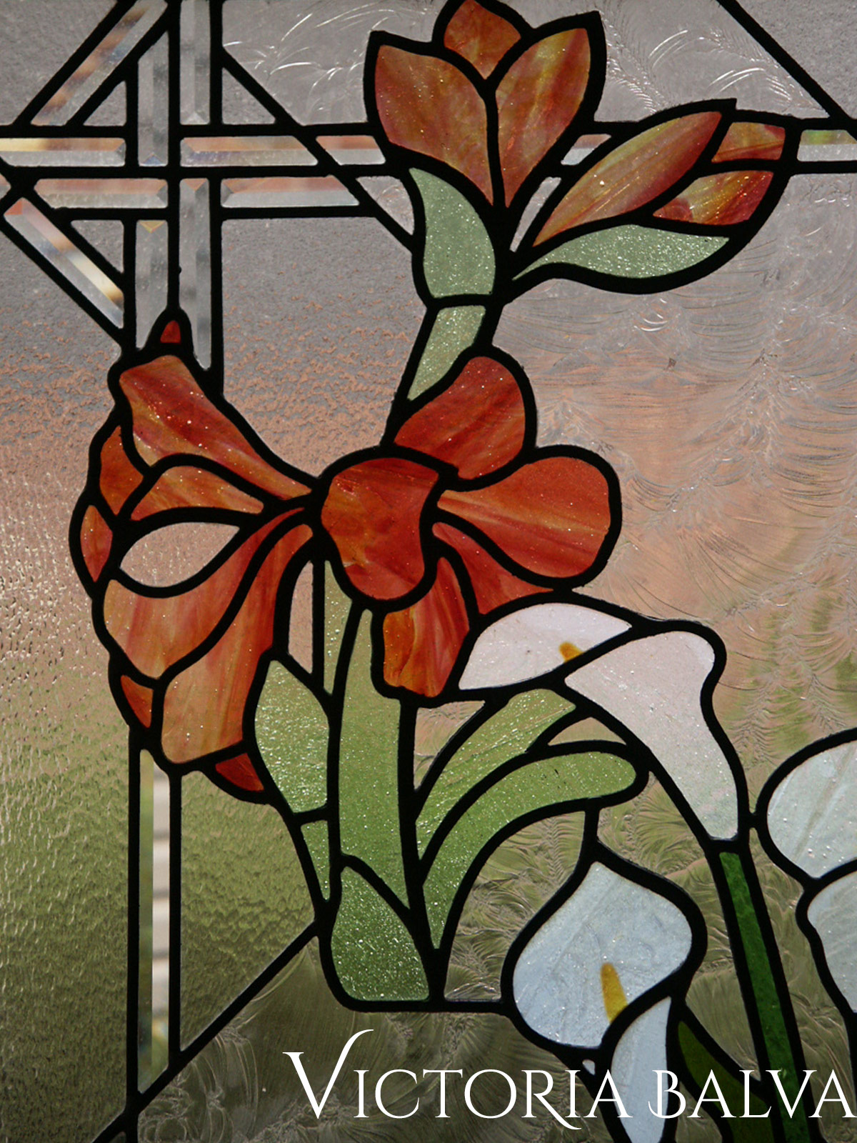 Stained and leaded glass window. Flower garden. Amoralis, Tulips, Lilias