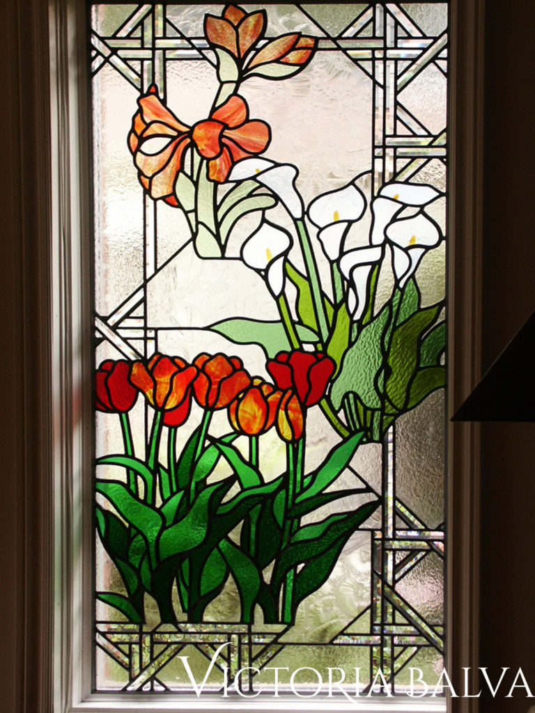 Flower Garden, Stained and leaded glass window for a family house in Oakville