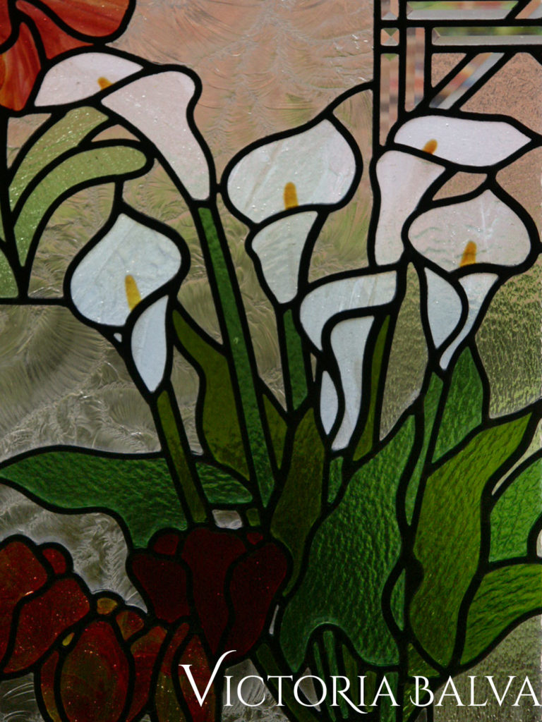 Blooming Lilias, stained and leaded glass window with painted glass and bevelled glass border