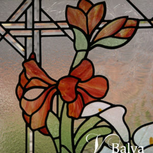 Floral stained and leaded glass window for a family room in Oakville