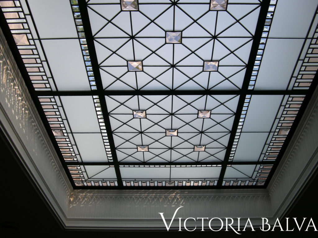 Large stained and leaded glass ceiling with colored bevelled glass