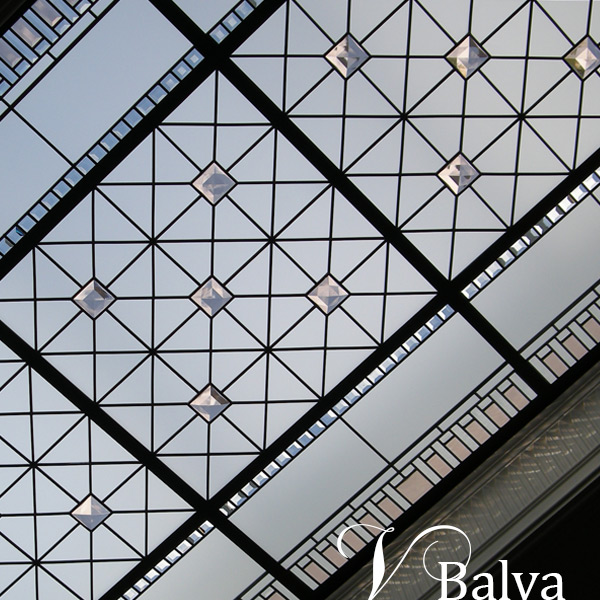 leaded architactural glass flat ceiling with custom made jewels and acid etched glass
