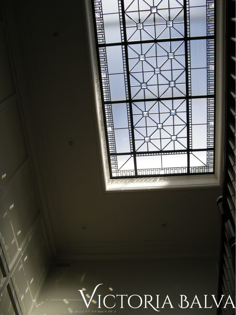 Decorative glass skylight ceiling for the custom built house in Toronto