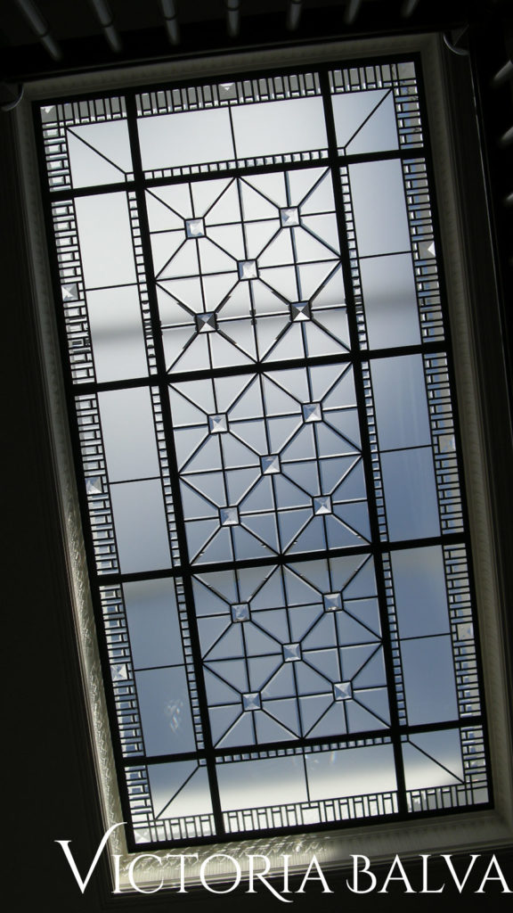 Large leaded glass skylight ceiling with custom hand bevelled acid etched glass and large clear crystal glass jewels accents