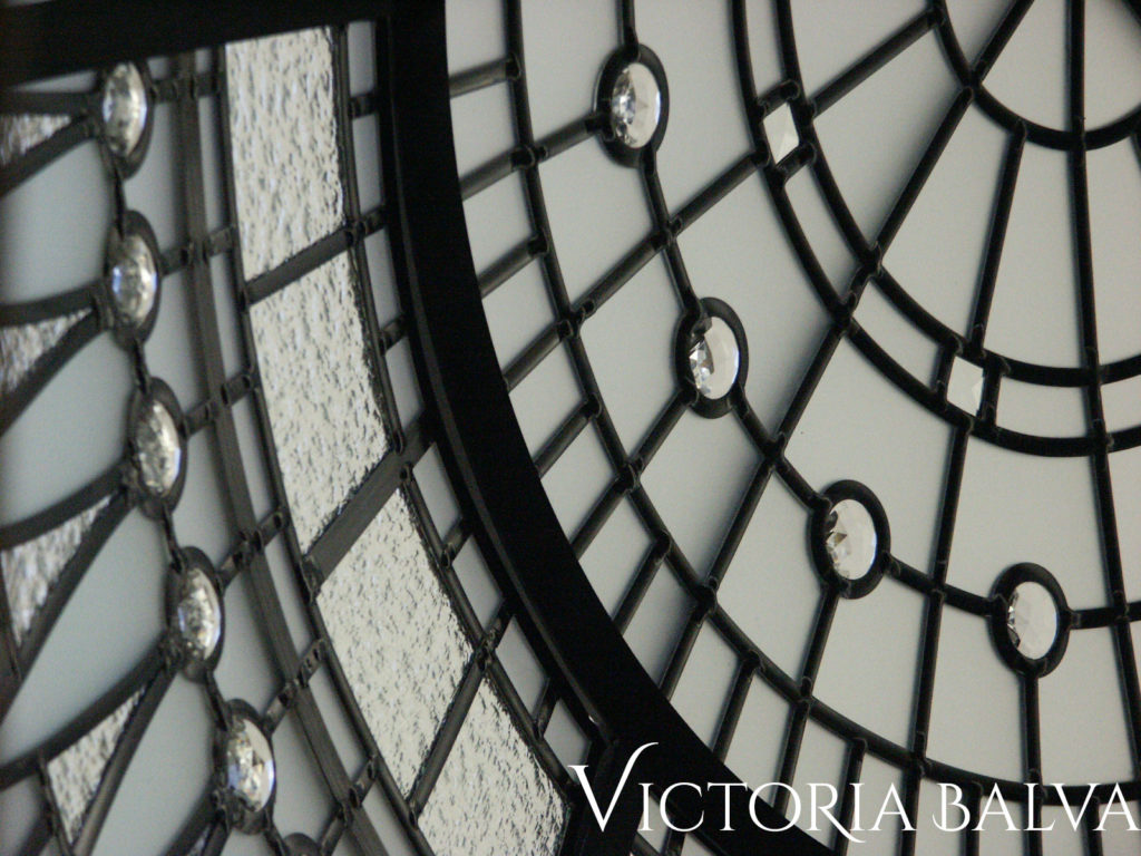 Close up stunning detail of residential stained and leaded glass dome for the custom built home in Vaughan