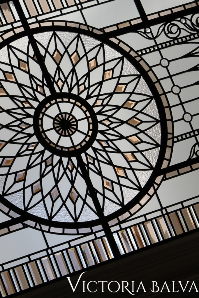 Classical leaded glass skylight lay light for a hallway of a custom builr residence in Mississauga