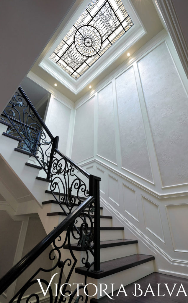 Staircase hall with stained and leaded glass ceiling for the house designed in Mississauga by Bill Hall