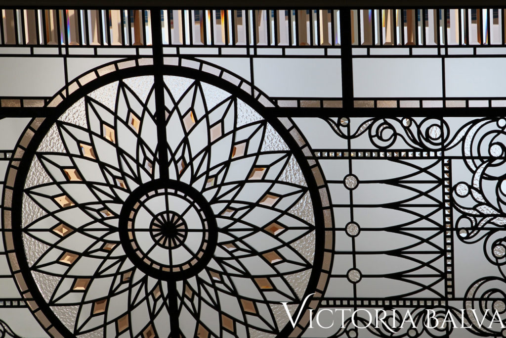 Classically inspired stained and leaded glass ceiling with custom hand bevelled glass and acanthus ornaments