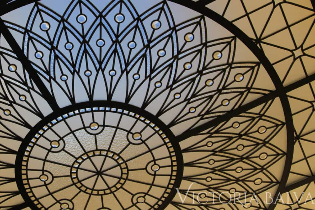 Decorative glass ceiling skylight detail with jewels and clear glass: acid etched glass, granite