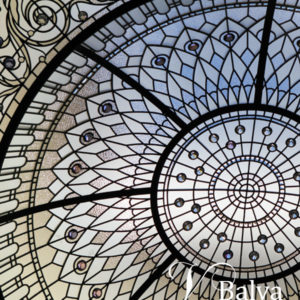 Atrium stained and leaded glass dome skylight for a custom custom built residence in the bridle path Toronto